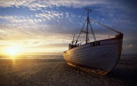 Beached fishing boat, Denmark