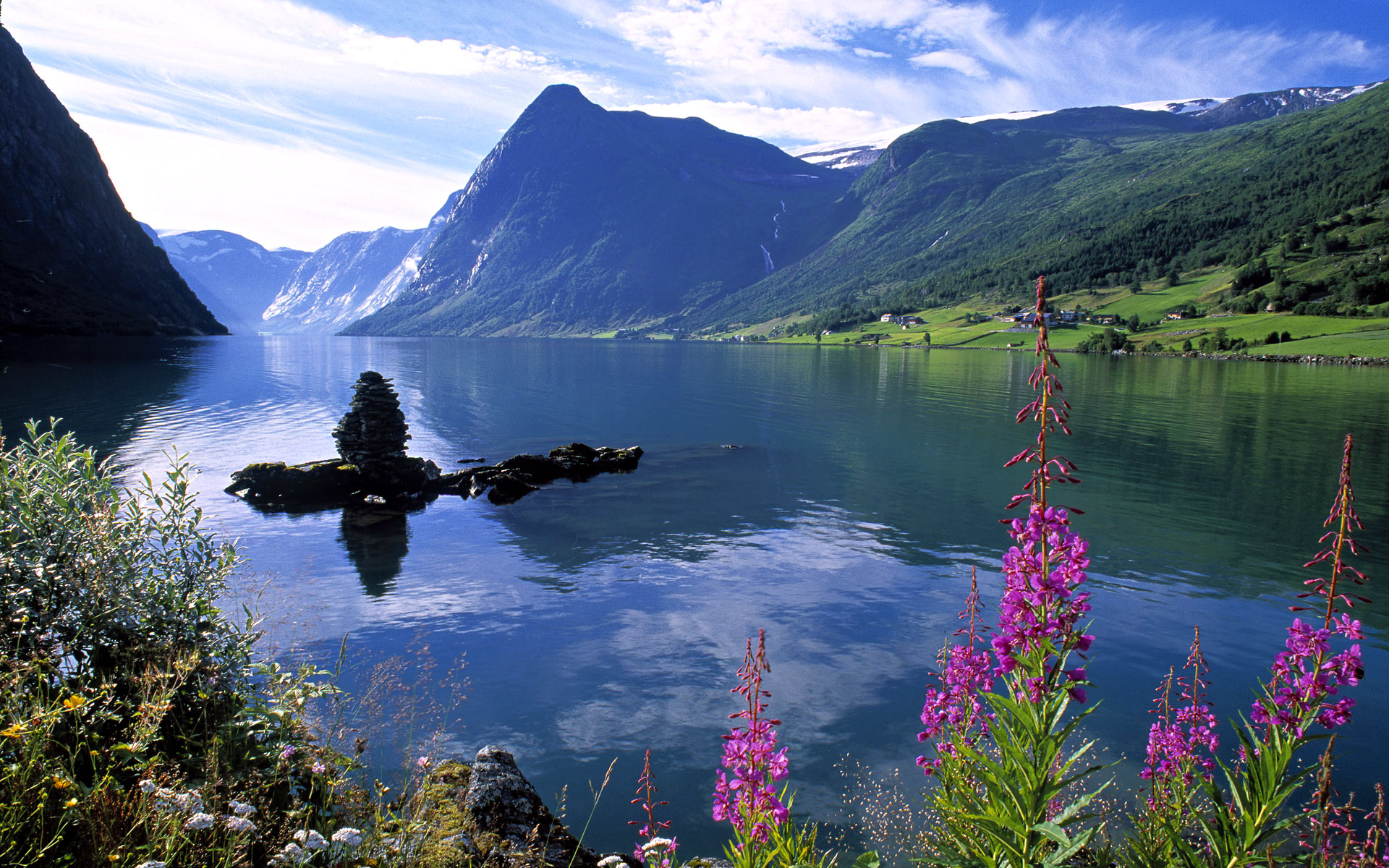 Download boat in the fjord 1920x1080 hd wallpaper - Pics Photos Desktop Backgrounds For Windows 7 As