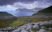 Gjáarbotnur, Vágafjørður  Fjord and Vágar Island in the distance, from Streymoy, Faroe Islands, Denmark