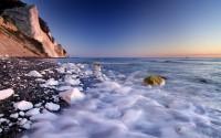 Møns Klint chalk cliffs at dawn, Møn Island, Denmark