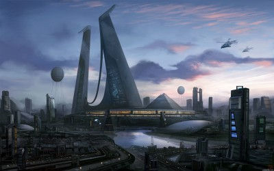 futuristic city towers