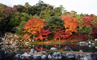 Autumn leaves in the Landscape Garden, Tenry? Shiseizen-ji temple, Arashiyama, Kyoto, Japan