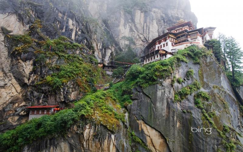 Paro Taktsang (Tiger's Nest Monastery) above Paro Valley, Bhutan