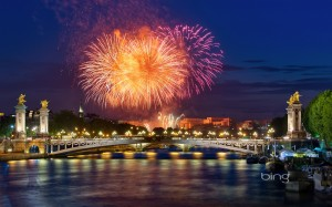Fireworks over Pont Alexandre III in Paris, France