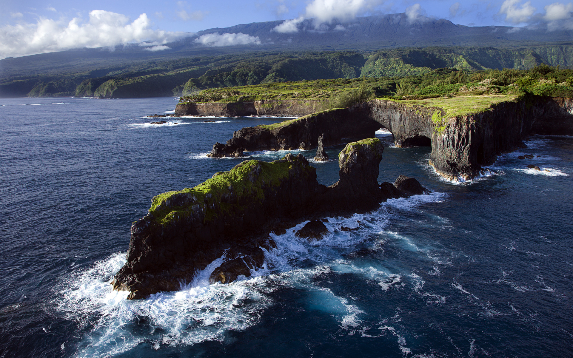 aerial view of rocky coast on pacific ocean  maui hd