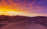 Sand dunes illuminated at sunrise, Erg Chebbi,  Sahara Desert, Morocco