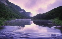 Jacques-Cartier River and mist at dawn, Jacques-Cartier National Park, Quebec, Canada