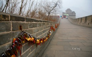 Love locks on the reat Wall in China