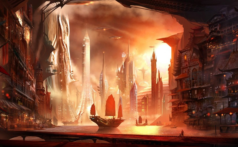 Fantasy city hd wallpaper 2560×1600