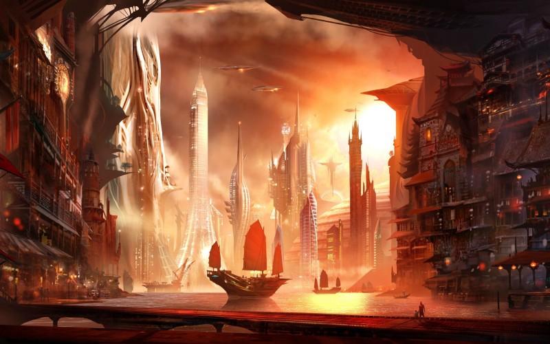 fantasy city hq wallpaper