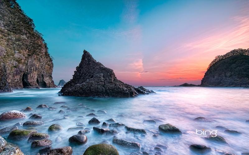 sunset at futo beach japan