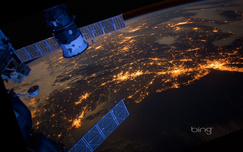 view over US east cost from ISS
