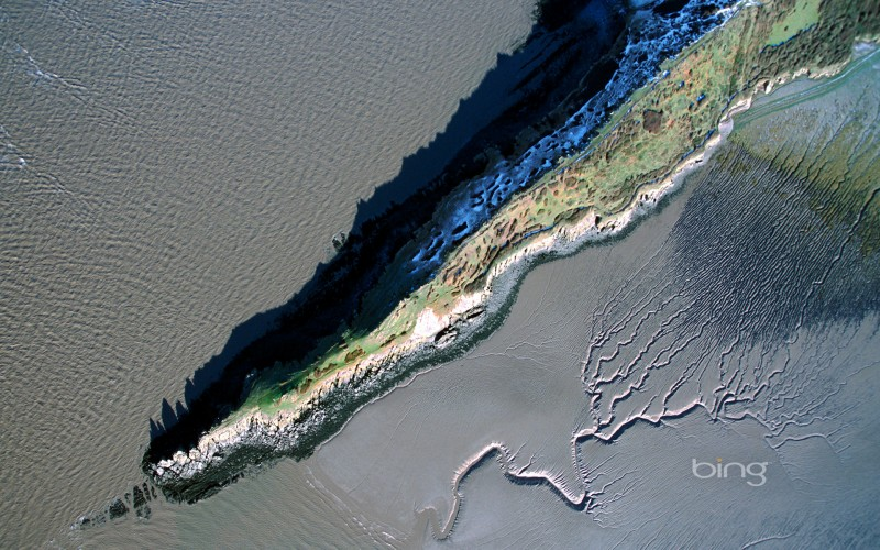 Aerial view of the coastline at Sand Point, Somerset