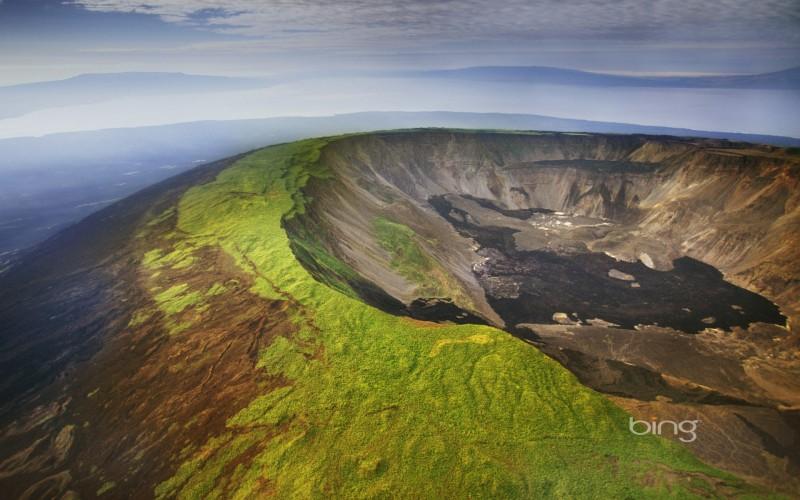 Aerial view of a volcano caldera, Isabela Island