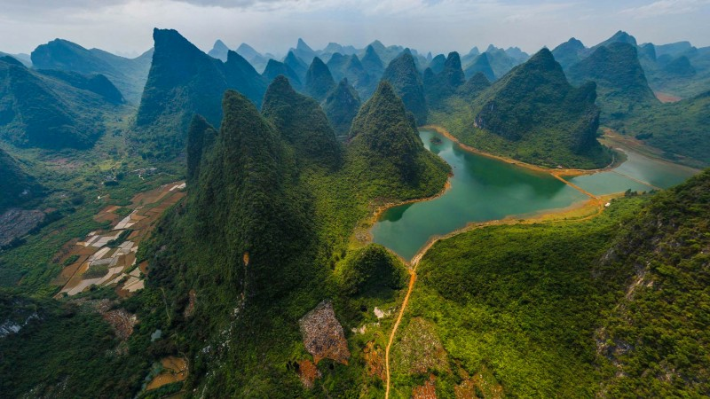 The green hills around Li River, China