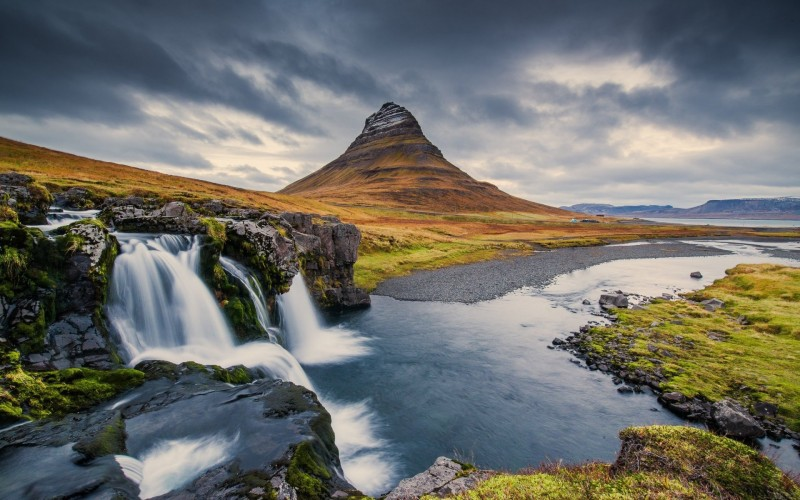 Kirkjufell Mountain and a waterfall