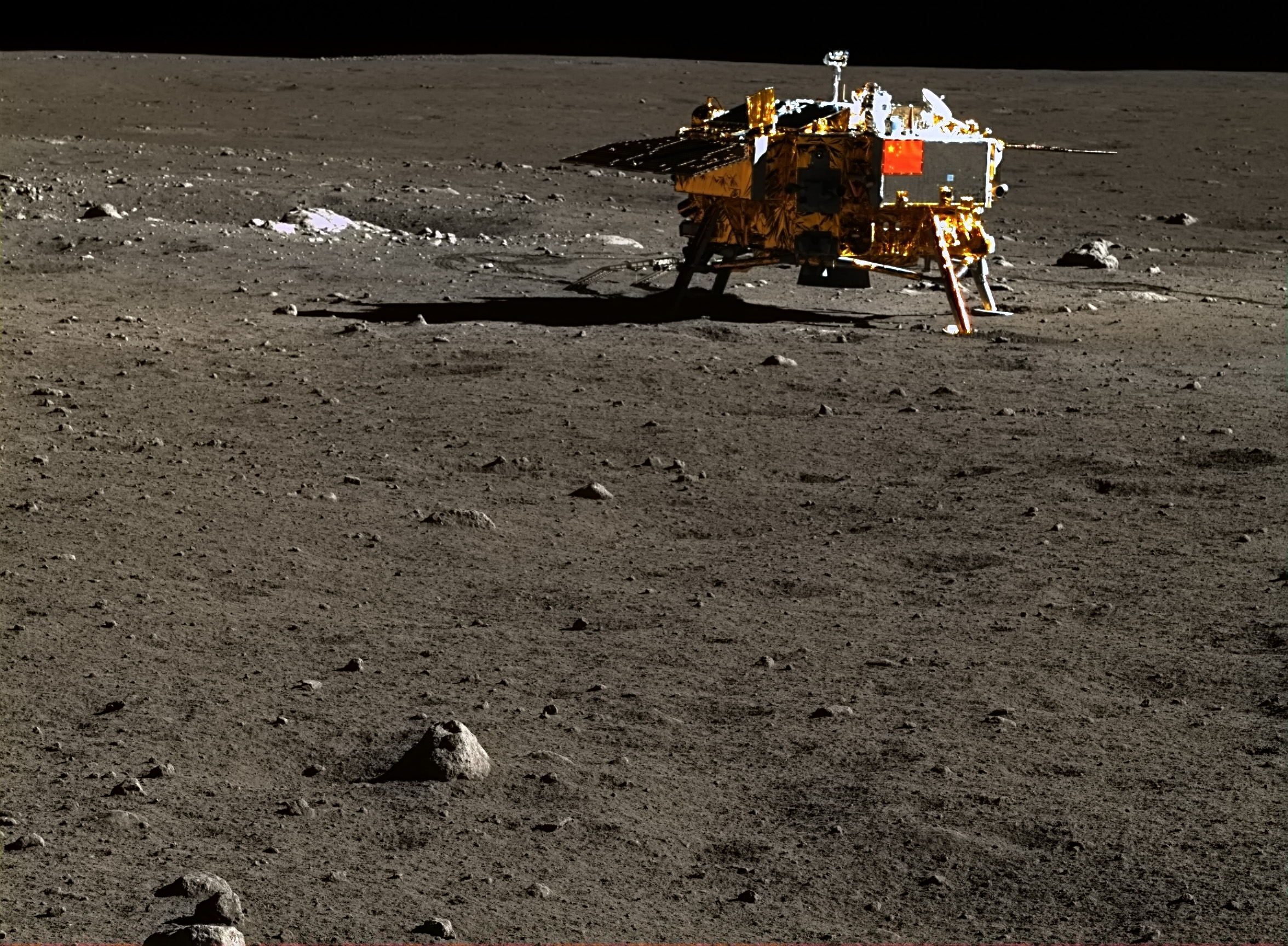 Chang'e 3 lander on the Moon in colour